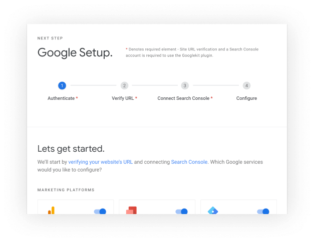 Google Site Kit setup flow